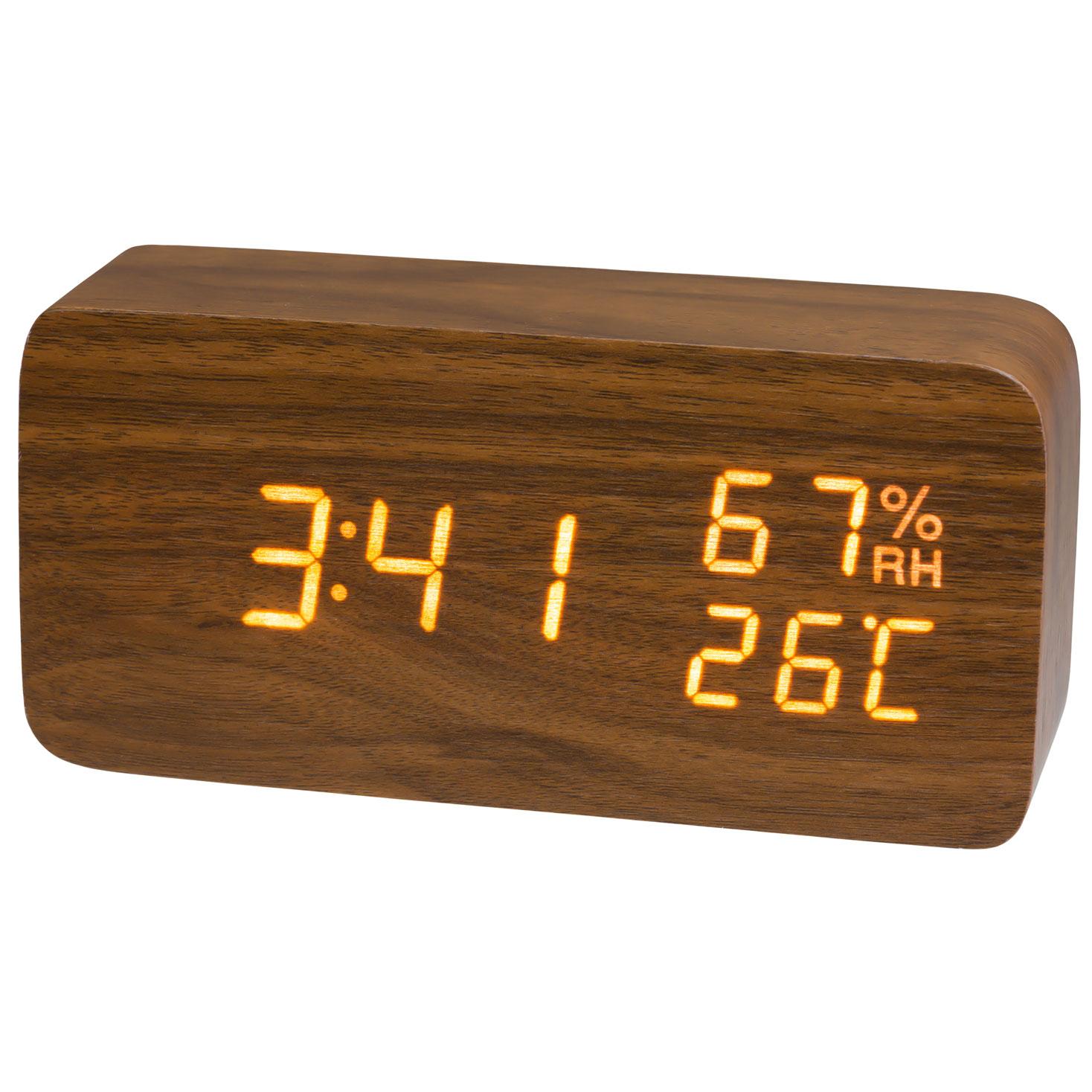 木目クロック 置き時計 目覚まし時計 木調 温度 湿度 インテリア ウッド LED PLUSDECO プラスデコ【IAC-5655】