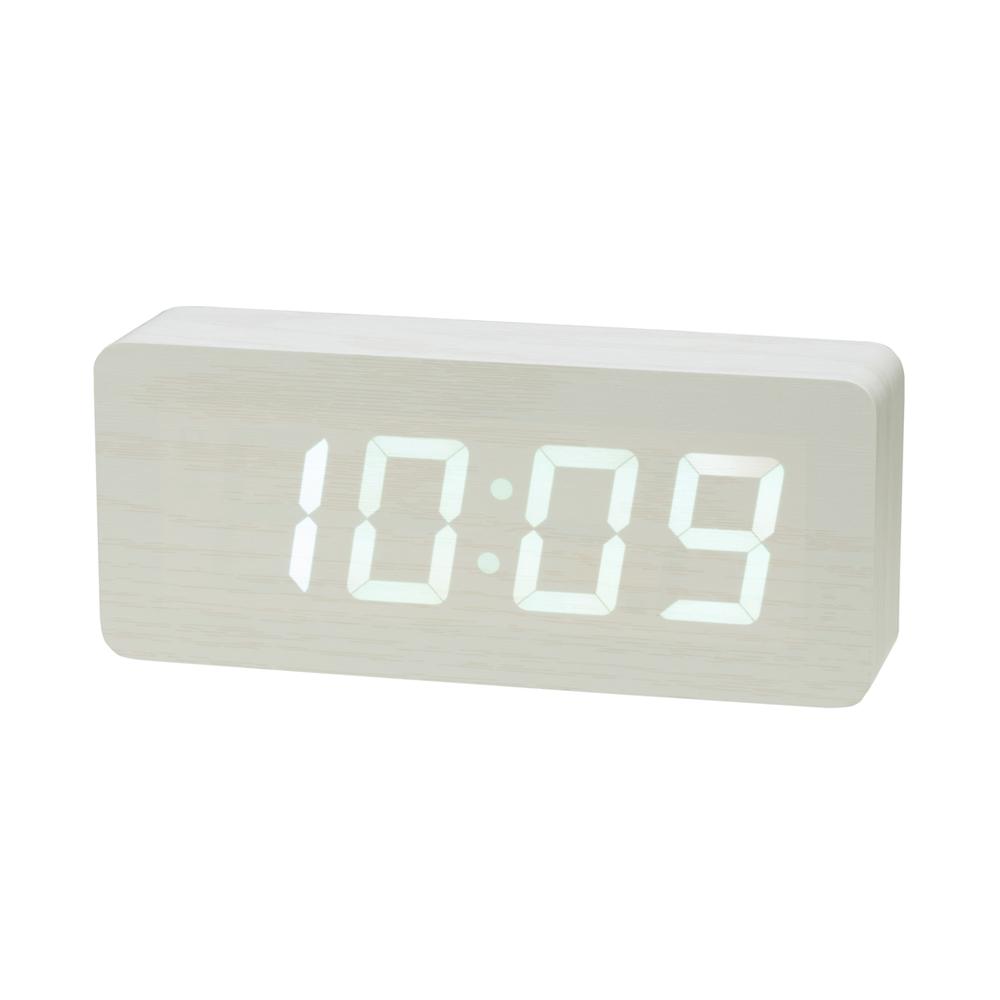 木目調LEDクロック 置き時計 7色 ウッド インテリア プラスデコ PLUSDECO【IAC-5664】