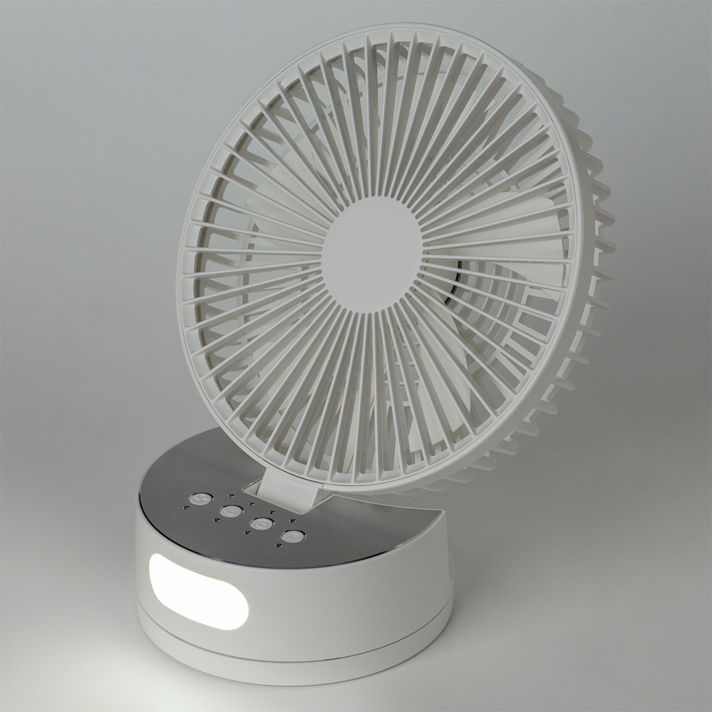 卓上型ファン USB充電式 卓上 ライト付き 明るさ調整 【FAN-02】