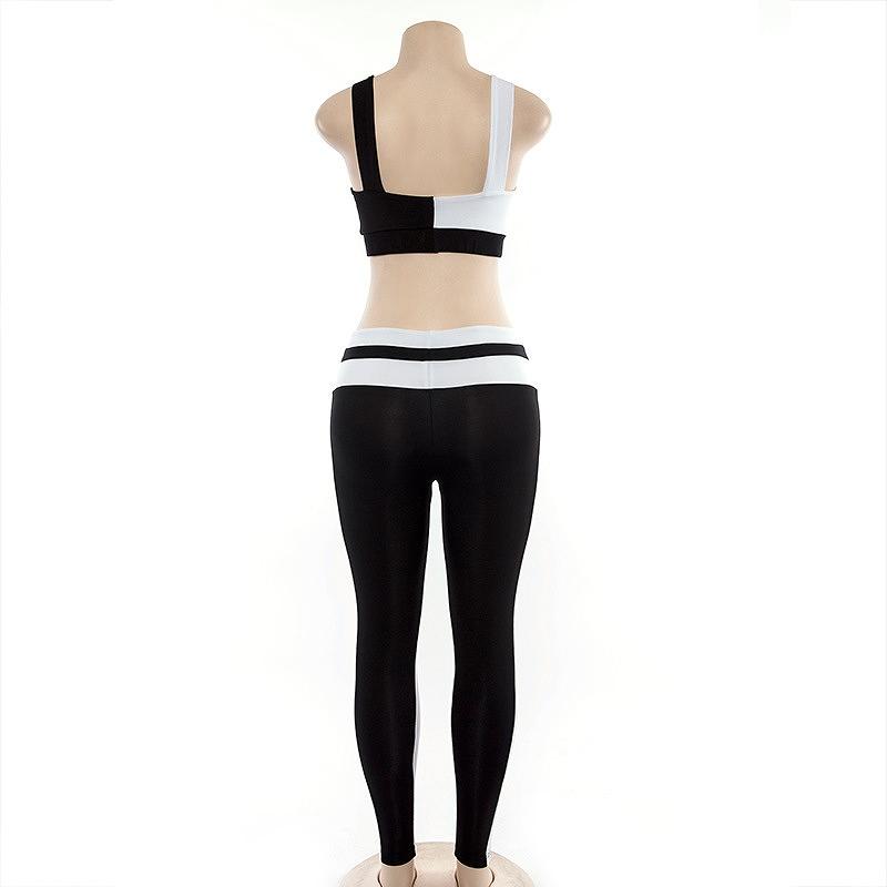 セットアップ レディース ダンス衣装 ジム ヨガ フィットネス 2点セット 韓国 チューブトップ かっこいい おしゃれ かわいい セクシー 黒 白 ブラック ホワイト