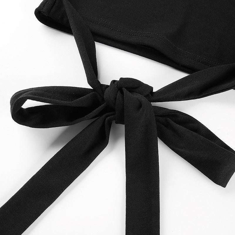 ショート丈トップスカットソー ヘソ出し トップス ダンス衣装 レディース 女性 編み上げ へそ出し バックリボン 長袖 韓国 ヒップホップ ダンス イベント シンプル おしゃれ カジュアル かわいい かっこいい 可愛い セクシー 黒 ブラック