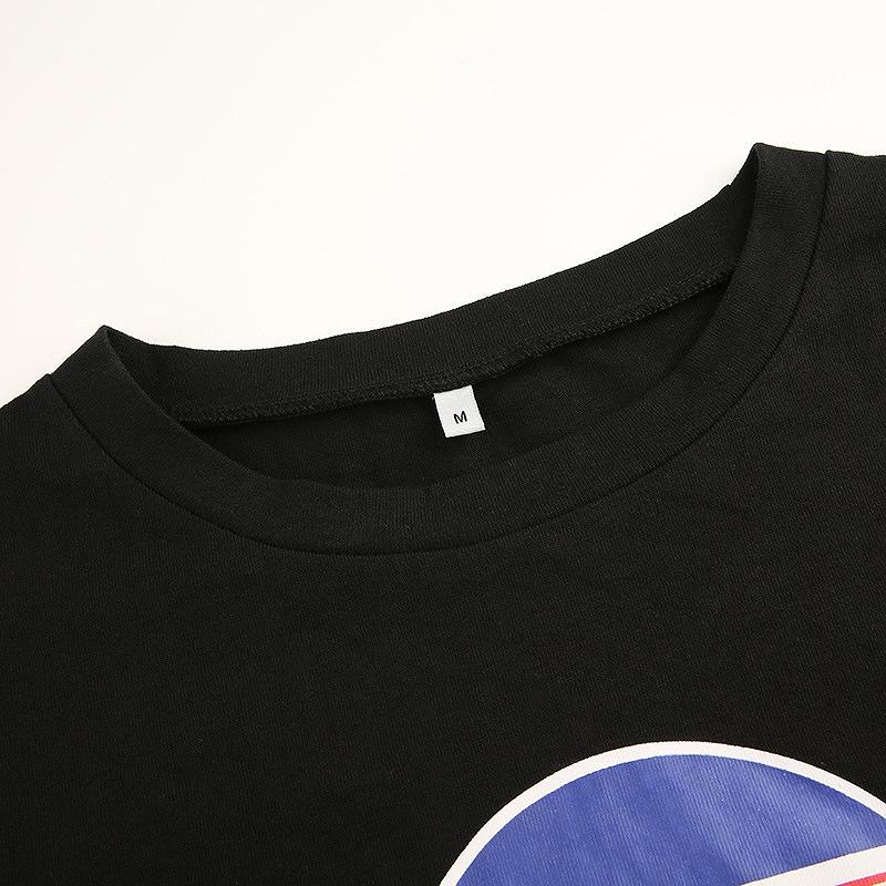 tシャツ ショート丈 トップス レディース へそ出し ロンt カットソー 半袖 レース ダンス 衣装 韓国 ファッション かっこいい おしゃれ かわいい ブラック