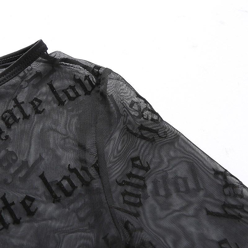 レース レディース トップス シースルー 長袖 トップス 指穴 透け感 ダンス衣装 かっこいい おしゃれ セクシー 黒 ブラック