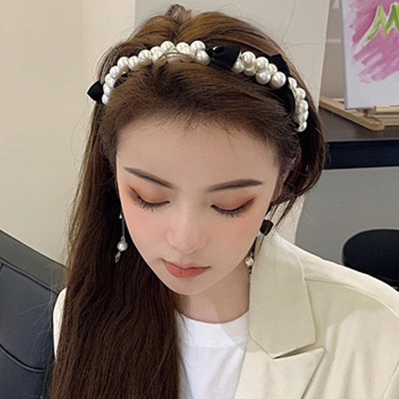 ヘアバンド レディース カチューシャ パール リボン レッド ブラック アクセサリー ストリート ヒップホップ hiphop アクセサリー 韓国ファッション 女性 韓国アクセサリー おしゃれ かわいい かっこいい