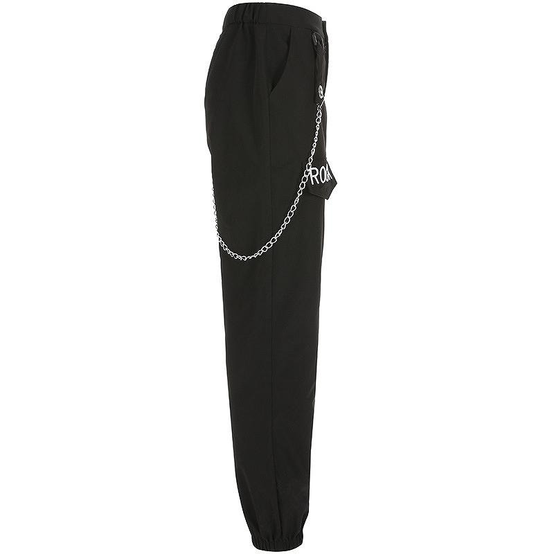 パンツ レディース ワイドパンツ ブラック ロック チェーン付 サスペンダー ダンス衣装 かっこいい セクシー 黒