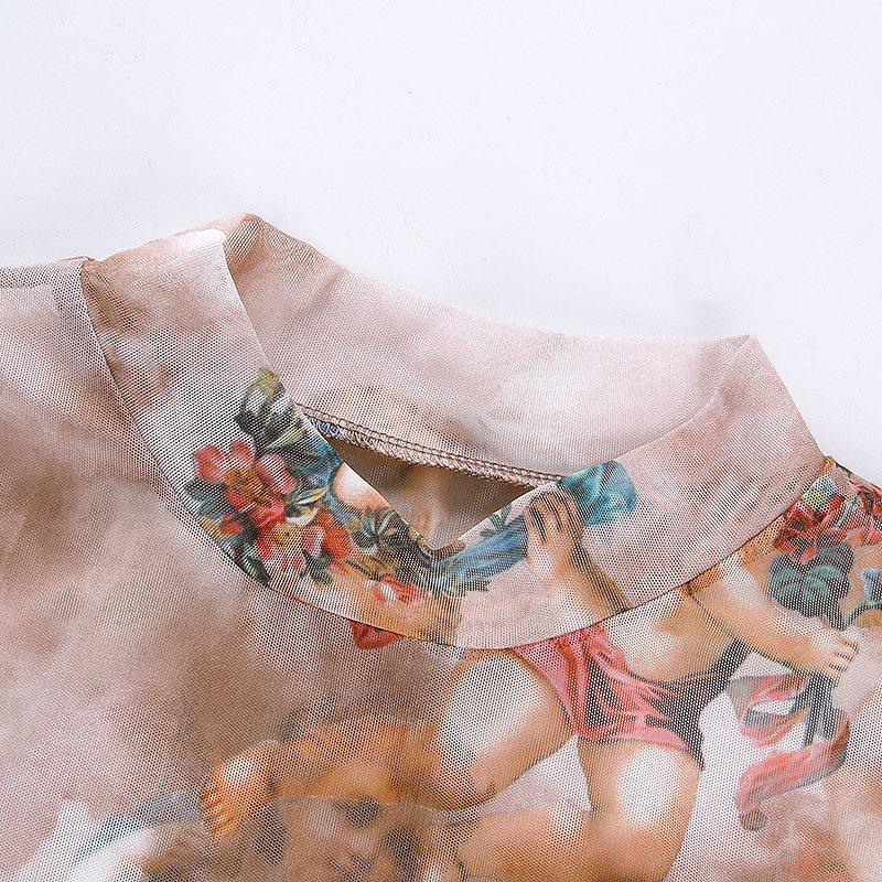 トップス レディース レース メッシュ ダンス 衣装 薄手 カットソー 韓国 ファッション ヒップホップ hiphop スリム シースルー かっこいい おしゃれ かわいい セクシー 女性 天使 エンジェル