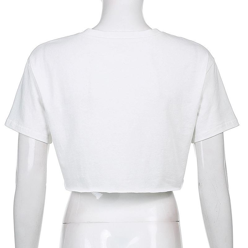 トップス ショート丈 レディース ヘソ出し Tシャツ ミニ丈 ダンス 衣装 ホワイト へそ出し カットソー 韓国 ファッション ヒップホップ hiphop 白 かっこいい おしゃれ かわいい セクシー 女性