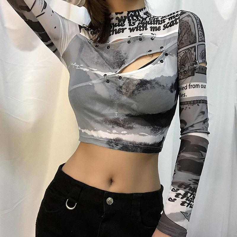 カットソー レース ショート丈 ダンス衣装 トップス レディース へそ出し 長袖 ヒップホップ hiphop 韓国ファッション シースルー かっこいい おしゃれ かわいい