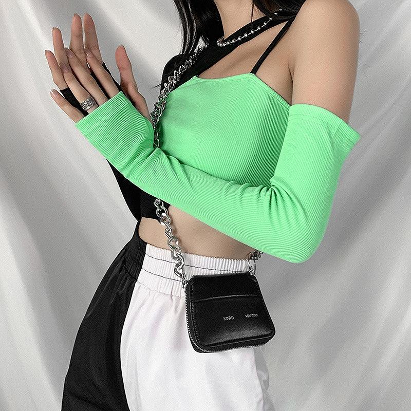 カットソー アシンメトリー ワンショルダー バイカラー 肩見せ レディース ツートン ダンス衣装 ヒップホップ hiphop ショート丈 トップス へそ出し 長袖 韓国ファッション かっこいい おしゃれ かわいい