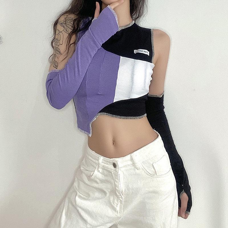 カットソー アシンメトリー オフショル 肩見せ レディース ダンス衣装 ヒップホップ hiphop ショート丈 トップス へそ出し 長袖 韓国ファッション かっこいい おしゃれ かわいい