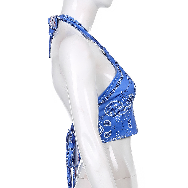 キャミソール ホルターネック インナー キャミ ブルー トップス ダンス 衣装 ショート丈 へそ出し レディース ビスチェ おしゃれ シンプル かっこいい ヨガ ジム 韓国 ファッション ヒップホップ hiphop かわいい セクシー 女性