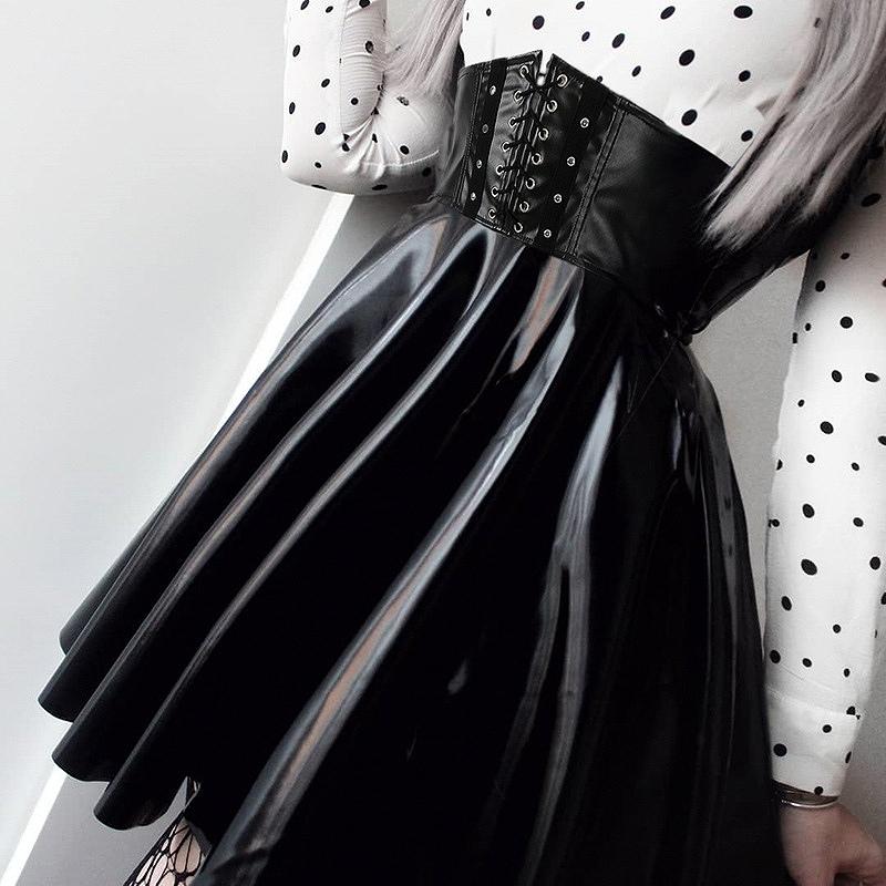 ウエストニッパー コルセット スカート ハイウエストスカート レースアップ ブラック フェイクレザー レディース ダンス 衣装 韓国 ファッション ヒップホップ hiphop パンク ロック コスプレ かっこいい おしゃれ かわいい セクシー 女性