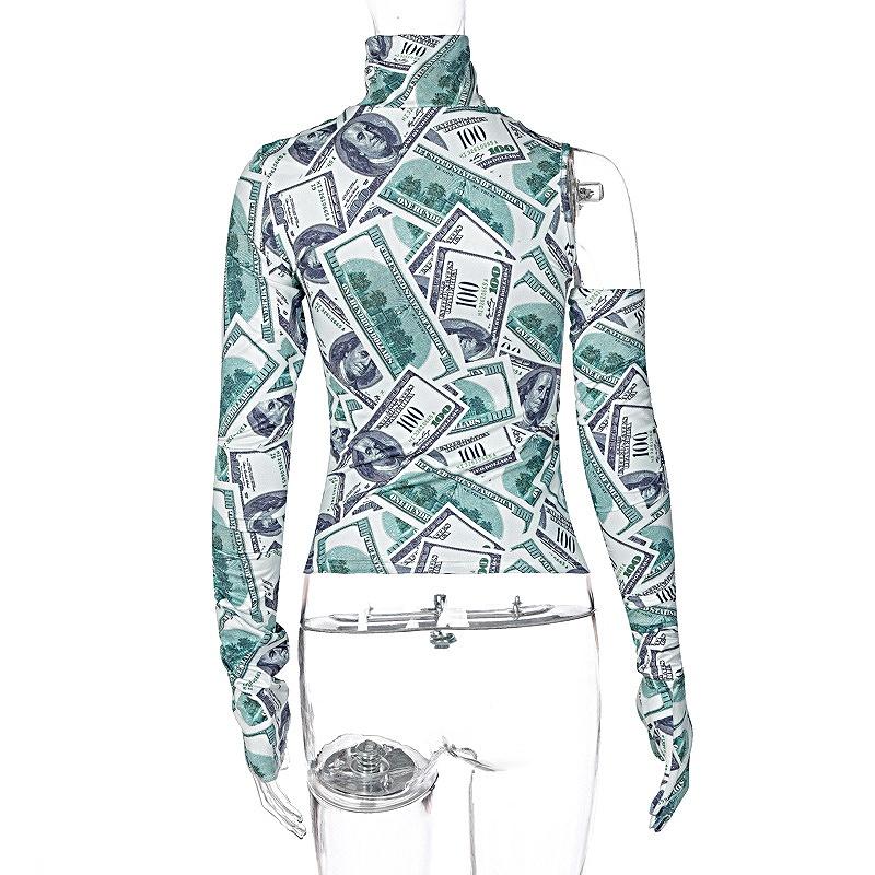 タートルネック ショート丈 レディース ワンショルダー ダンス衣装 ハイネック ヒップホップ hiphop トップス へそ出し 長袖 韓国ファッション かっこいい おしゃれ かわいい