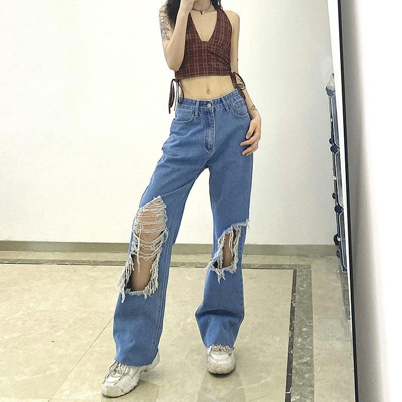 ダメージデニム レディース クラッシュジーンズ ゆったりデニム ワイドジーンズ ダンス 衣装 韓国 ファッション ヒップホップ hiphop ストリート カジュアル パンク ロック コスプレ かっこいい おしゃれ かわいい セクシー 女性