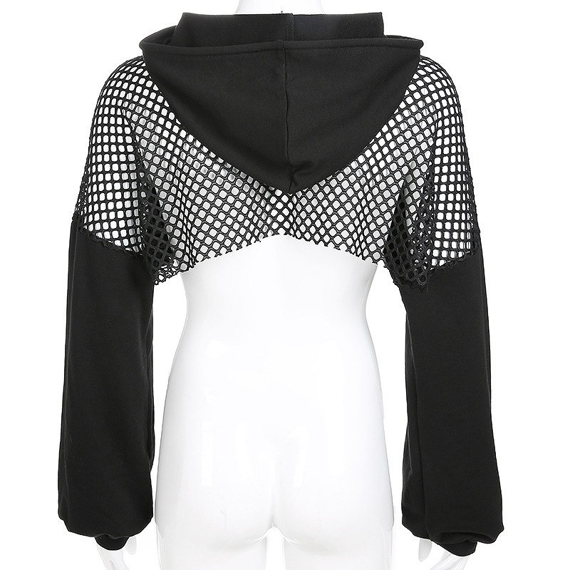 パーカー レース ショート丈 長袖 ヒップホップ hiphop レディース ダンス衣装 へそ出し 韓国ファッション かっこいい おしゃれ かわいい ブラック