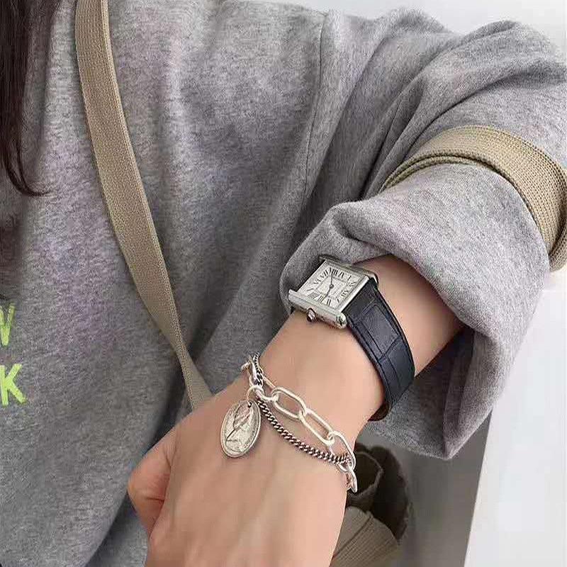 2連ブレスレット レディース OTバックルブレスレット メダル ゴールドチェーンブレスレット 2個セット シルバーチェーン ジュエリー ストリート ヒップホップ hiphop ロック パンク ペンダント アクセ レディース 韓国ファッション