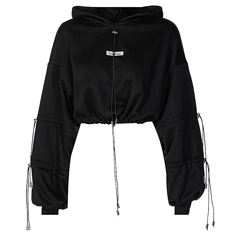 パーカー 大きめ ショート丈 レディース ヒップホップ hiphop ダンス衣装 へそ出し シンプル ゆったり 長袖 韓国ファッション かっこいい おしゃれ かわいい ブラック