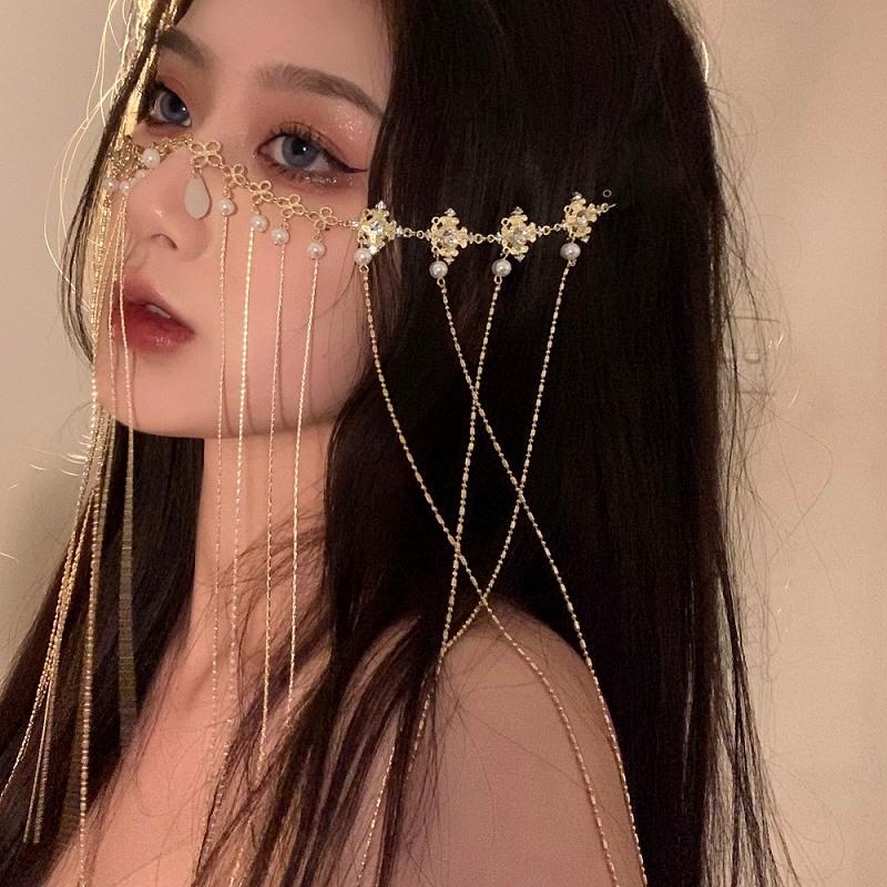 ダンス衣装 ベール マスク レディース フェイスベール ヘッドベール カーテン タッセル パール チェーン アクセサリー シールド ストリート ヒップホップ hiphop アクセサリー 韓国ファッション 女性 韓国アクセサリー シルバー ゴールド
