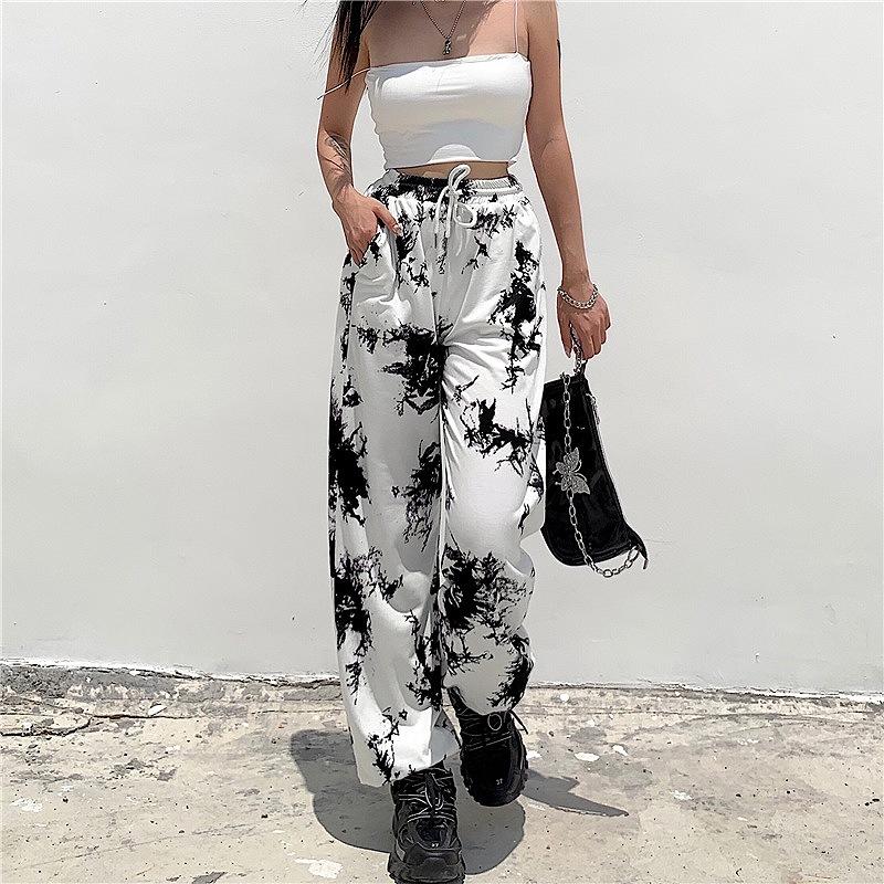スウェットパンツ ダンス衣装 レディース パンツ ワイドパンツ ズボン 韓国ファッション アニマル柄 かっこいい おしゃれ かわいい ウエストゴム