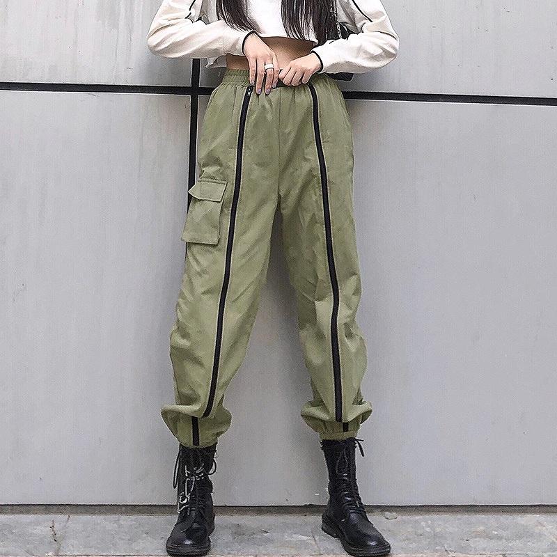 カーゴパンツ レディース ダンス衣装 ワイドパンツ ミリタリーパンツ カーキ オリーブ ファスナー付スリット ライン ボトムス 韓国ファッション