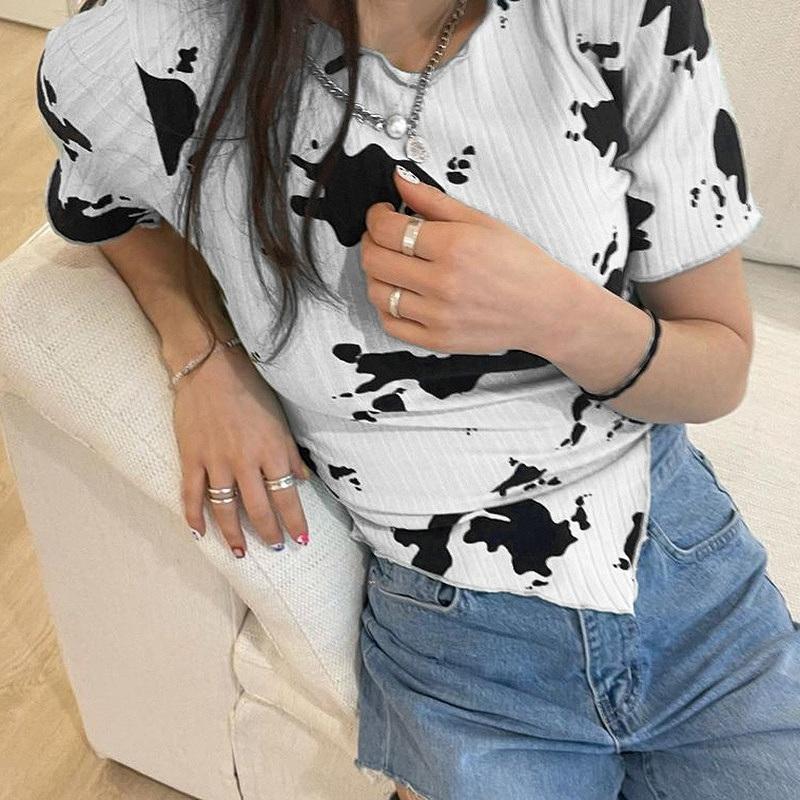 ダルメシアン柄 半袖 トップス レディース ダンス 衣装 牛柄 カットソー アニマル柄 韓国 ファッション ヒップホップ hiphop かっこいい おしゃれ かわいい セクシー