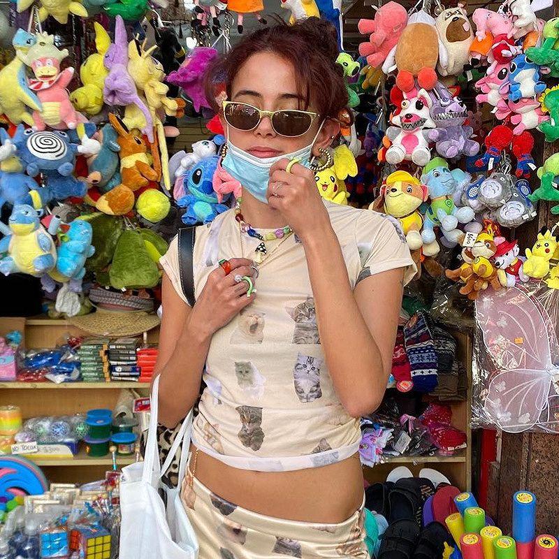 tシャツ 猫 キャット レディース ダンス 衣装 ショート丈トップス へそ出し 女性 韓国 ファッション ヒップホップ hiphop かっこいい おしゃれ かわいい セクシー