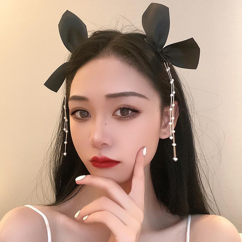 リボン ヘアピン ヘアクリップ ヘアアクセサリー レディース ブラック 女性 韓国ファッション 韓国アクセサリー ダンス 衣装 コスプレ ストリート ロック パンク ヒップホップ おしゃれ かわいい かっこいい