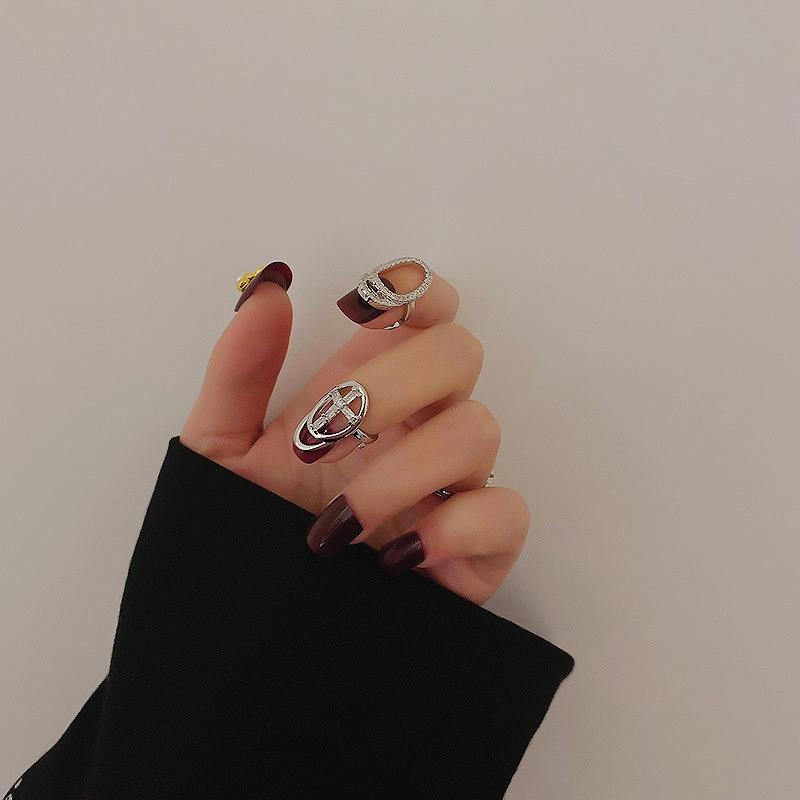 指輪 指先 フィンガーリング 2点セット レディース シルバーリング ビジュー キラキラ 韓国 ファッション アクセサリー ジュエリー 女性 おしゃれ かわいい かっこいい 韓国ジュエリー 韓国アクセ