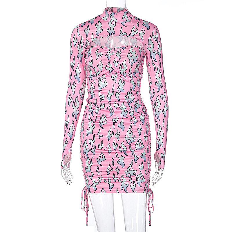 ワンピース 長袖 レディース スリム 韓国ファッション 薄手 ドレス タイト かっこいい おしゃれ かわいい セクシー 女性