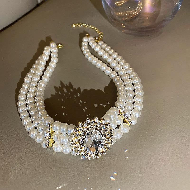 パールネックレス レディース 3連 真珠 韓国 ファッション ストリート ロック パンク ペンダント 結婚式 上品 アクセサリー 女性 韓国ジュエリー おしゃれ かわいい かっこいい