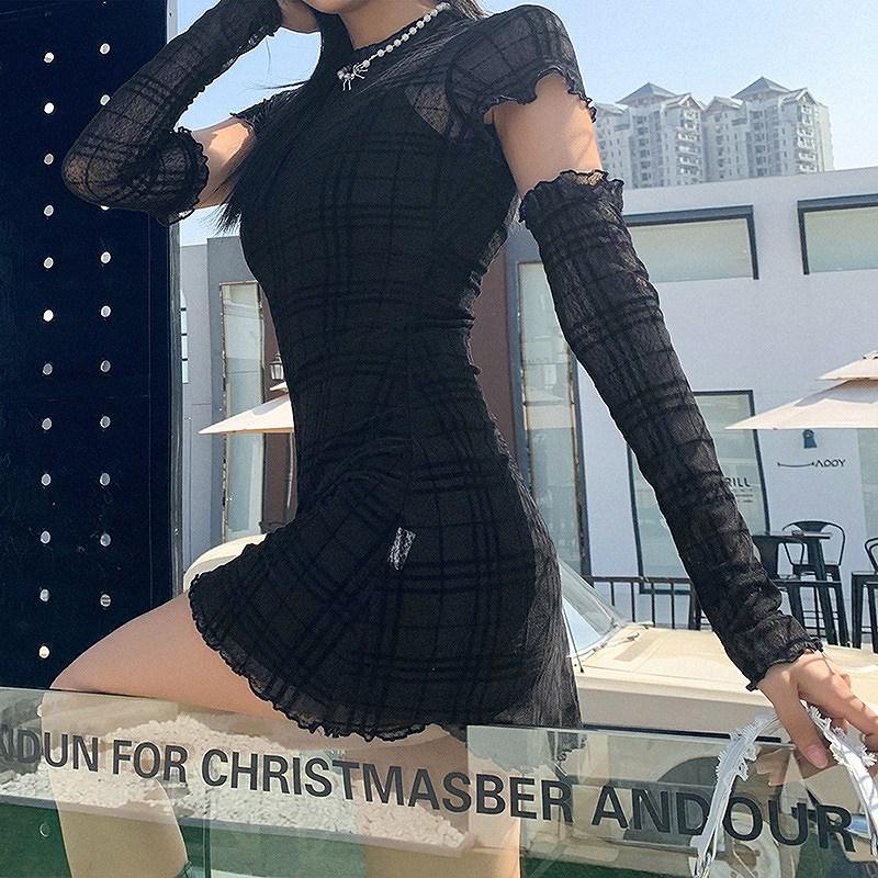 ワンピース ブラック レース レディース インナー キャミソール 韓国ファッション シースルー ドレス メッシュ タイト セクシー 女性