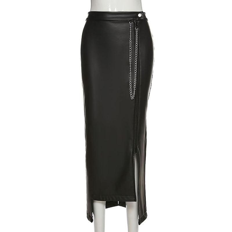 ロングスカート フェイクレザー タイト ブラック レディース 韓国ファッション チェーン付 スリット ドレス かっこいい おしゃれ かわいい セクシー 女性