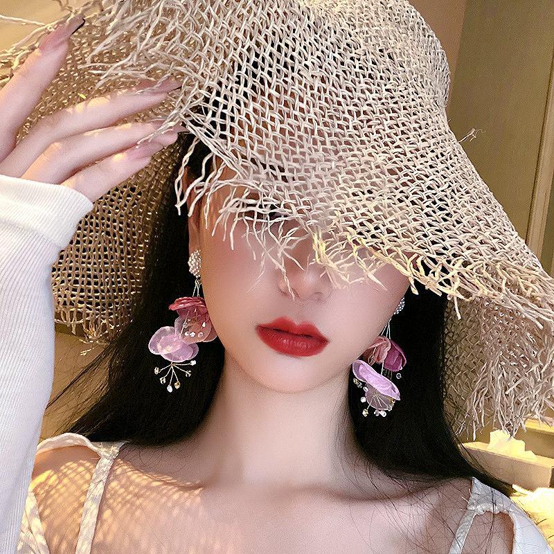 花びら ピアス パール フラワーピアス 花柄ピアス ストリート ロック パンク ヒップホップ アクセサリー レディース 上品 韓国ファッション 女性 韓国ジュエリー 韓国アクセ おしゃれ かわいい かっこいい