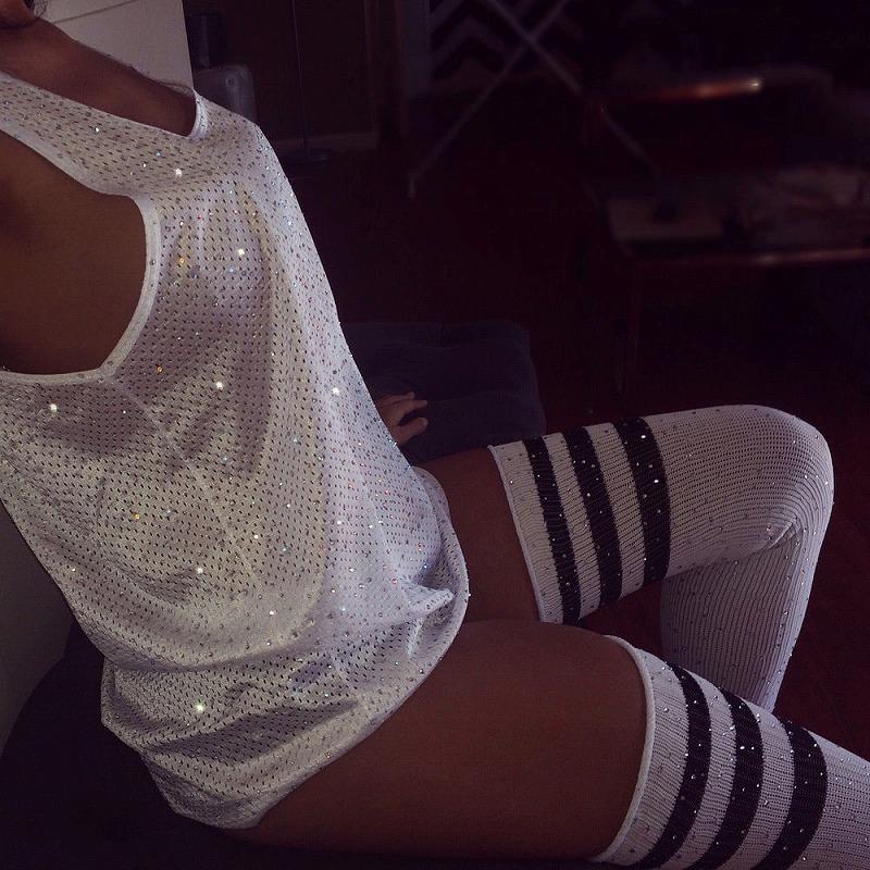 オーバーニー サニハイ レディース ニーハイソックス ハイソックス ストライプ ダンス 衣装 セクシー 女性 コスプレ ビジュー キラキラ ラメ グリッター スパンコール ラインストーン