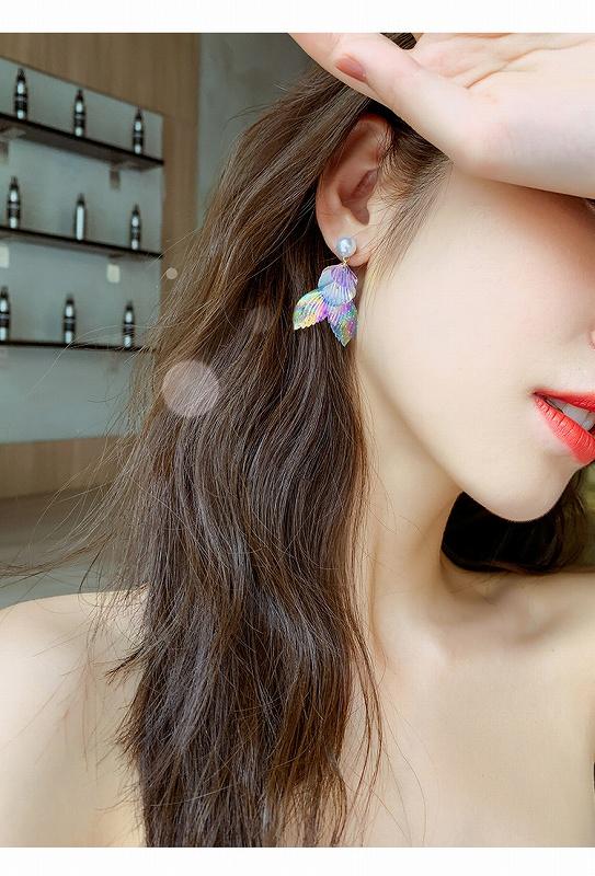 フィッシュテールピアス パールピアス レディースピアス アクセサリー ストリート ロック パンク ヒップホップ コスプレ ダンス 衣装 韓国ファッション 女性 韓国ジュエリー 韓国アクセ おしゃれ かわいい かっこいい