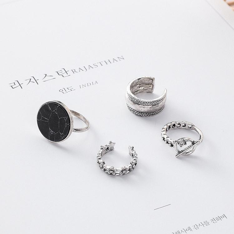 アクセサリー 指輪 レディース ジュエリー リング マーブルリング 4個セット 女性 韓国 ファッション ビーチ フェス イベント ダンス リングセット 韓国ジュエリー おしゃれ かわいい かっこいい