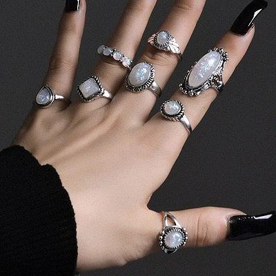 アクセサリー 指輪 レディース ジュエリー リング 幾何学  8個セット 女性 韓国 ファッション ビーチ フェス イベント ダンス リングセット 韓国ジュエリー おしゃれ かわいい かっこいい