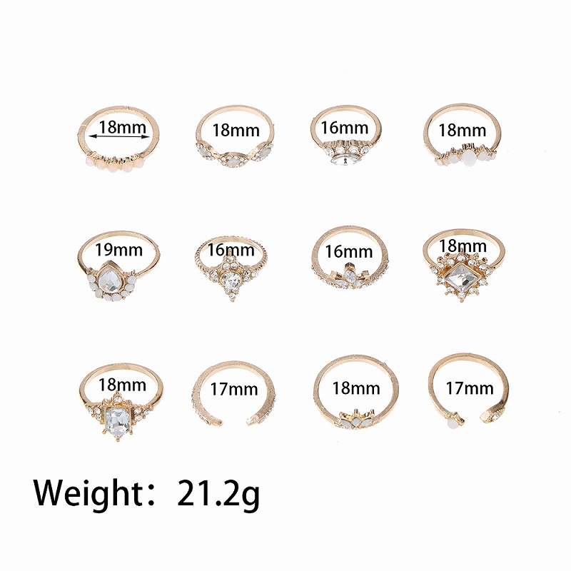 アクセサリー 指輪 レディース ジュエリー リング 12個セット 女性 韓国 ファッション ビーチ フェス イベント ダンス リングセット 韓国ジュエリー おしゃれ かわいい かっこいい