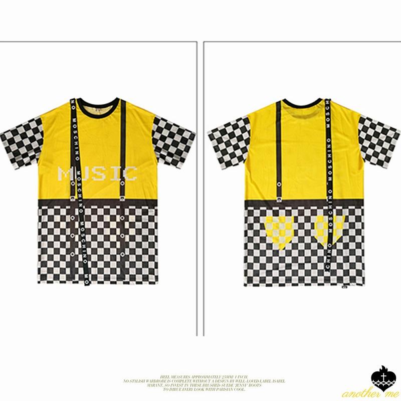 ワンピース ロング丈 トップス レディース ロングカットソー メッシュ 格子柄 ワンピ イエロー 黄色 半袖 tシャツ