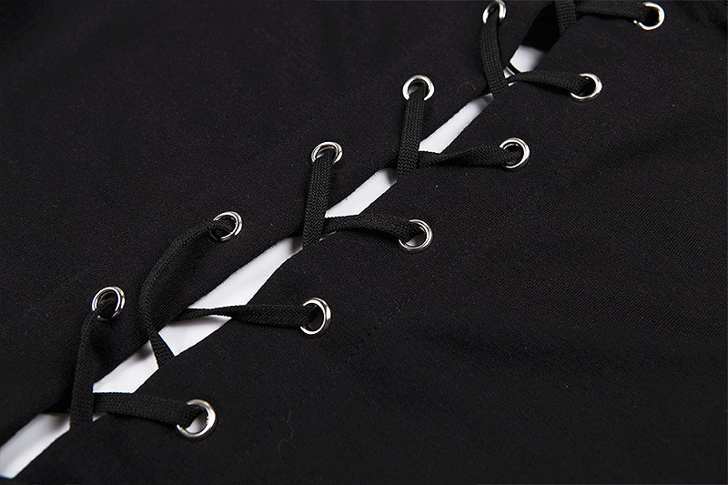 ショート丈 パーカー パーカー トップス ショートパーカー ダンス 衣装 レースアップ 編み上げ へそ出し レディース 韓国 ファッション ロック パンク 長袖 イベント コスプレ 原宿系 個性的 セクシー かっこいい 黒 ブラック