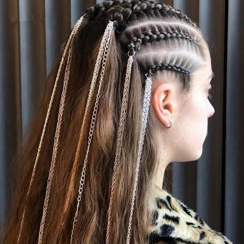 ヘアアクセサリー レディース 編み込み エクステ ヘアチェーン ヘア飾り チェーン 付け毛 韓国 ファッション ダンス 衣装 韓国ジュエリー おしゃれ かわいい かっこいい