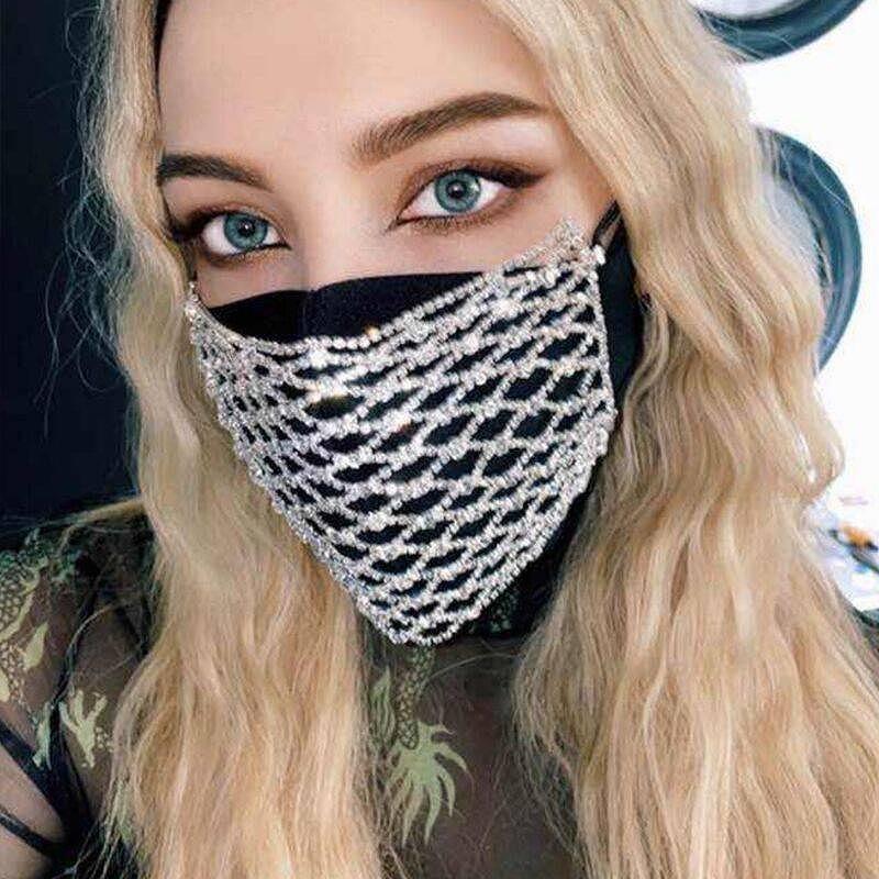マスク アクセサリー ラインストーンマスク アクセサリーマスク 格子柄 ビジュー キラキラ ラメ グリッター スパンコール おしゃれマスク レディース メンズ 男女兼用 かわいい かっこいい