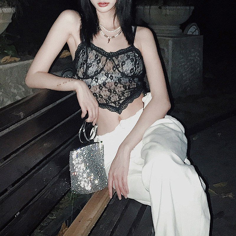 キャミソール トップス レース カットソー レディース ビスチェ ダンス 衣装 ランジェリー 韓国 ファッション ヒップホップ hiphop セクシー 女性 コスプレ かっこいい おしゃれ かわいい