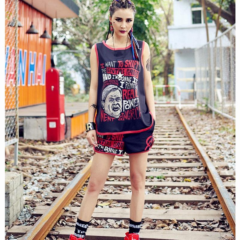 ストリートダンス衣装 セットアップ ノースリーブ ショートパンツ ジム ヨガ スポーツウェア