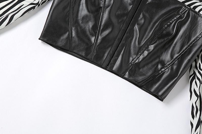 コルセット シャツ ベルトセット ウエストニッパー レザー レディース ダンス 衣装 ダルメシアン アニマル ハイウエスト 韓国 ファッション ヒップホップ hiphop コスプレ かっこいい おしゃれ かわいい セクシー 女性