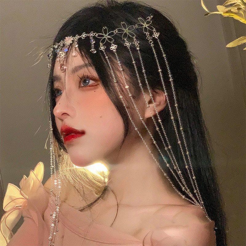 フェイスベール フェイスアクセ フェイスカーテン 付け毛 エクステ ダンス 衣装 ヘアアクセ タッセル ブライダル 結婚式 上品 レディース ヘッドベール 髪飾り コスプレ 韓国ファッション 女性 韓国アクセ ビジュー ヘア飾り ラインストーン