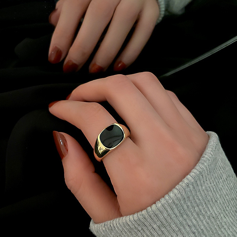 指輪 レディース 3点セット リング 韓国 ファッション 3個セット 幾何学 正方形 大きめ アクセサリー ジュエリー 女性 おしゃれ かわいい かっこいい ストーン ブラック