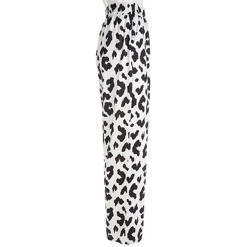 スウェットパンツ レディース アニマル柄 ワイドパンツ ダンス 衣装 韓国 ファッション かっこいい おしゃれ かわいい ブラック ホワイト