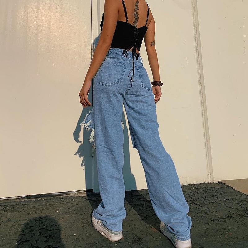 クラッシュデニム レディース ダメージジーンズ Gパン 穴あき 韓国ファッション ジーパン ダメージデニム セクシー オーバーサイズ 大きめ 女性 ヒップホップ hiphop ストリート かっこいい おしゃれ かわいい セクシー