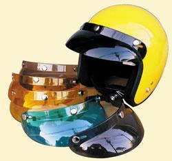 どんなヘルメットにも合わせやすい形のバイザー ショートバイザー / バイクヘルメット用バイザー